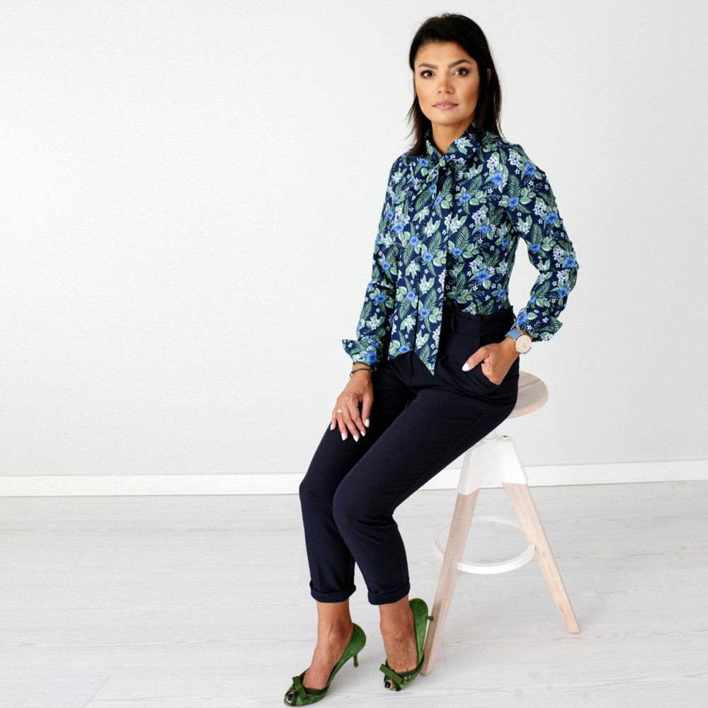 Women's shirt with plant pattern 9695