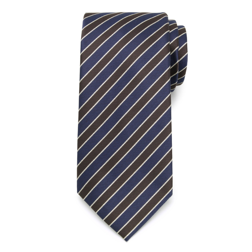 Tie with brown and dark blue strips 9797
