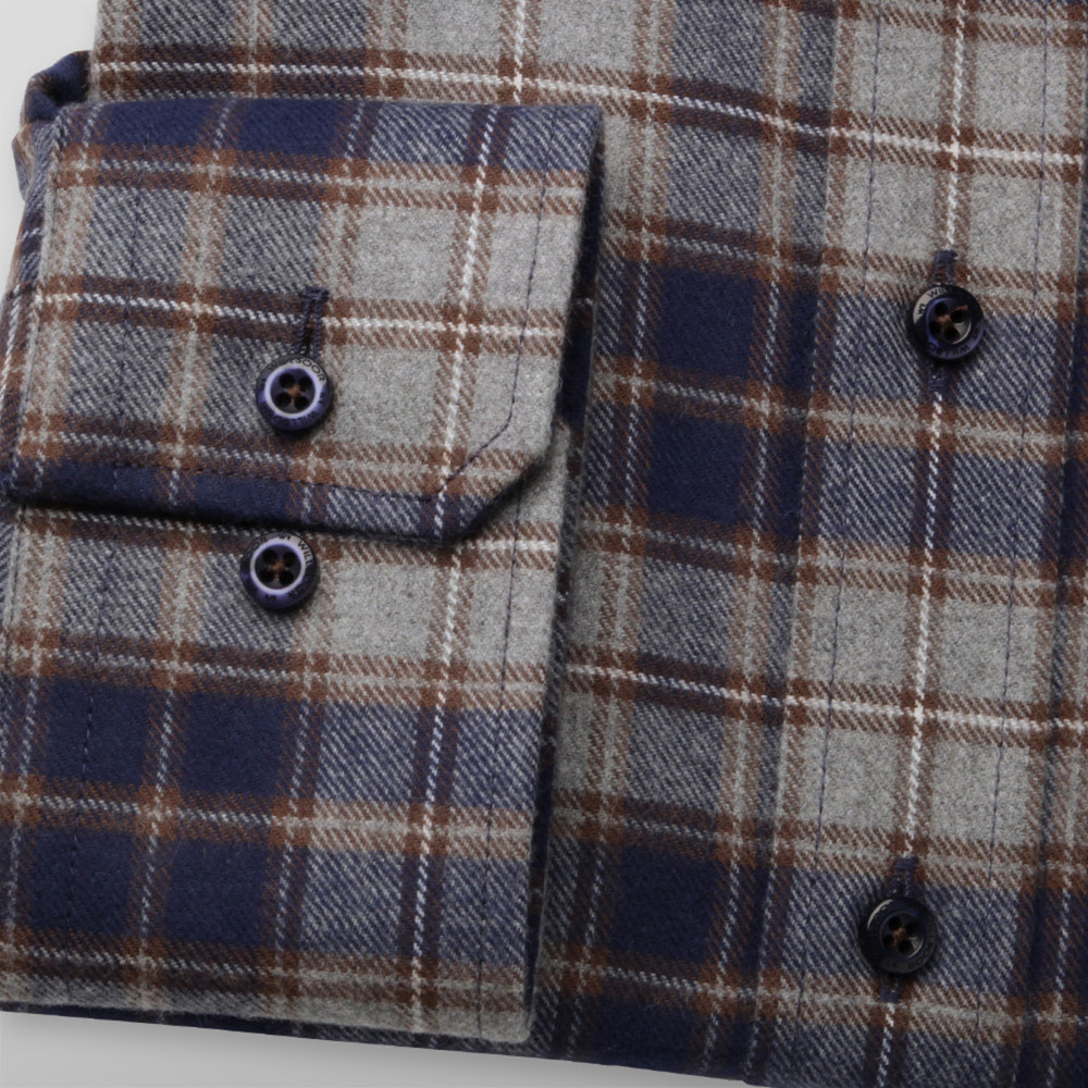 Men's slim fit shirt with tartan pattern (height 164-170) 9908