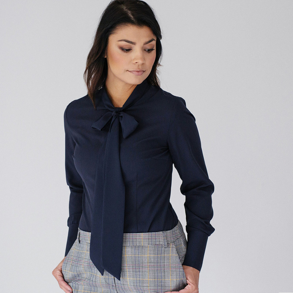 Women's shirt with a ribbon in dark blue color 9946