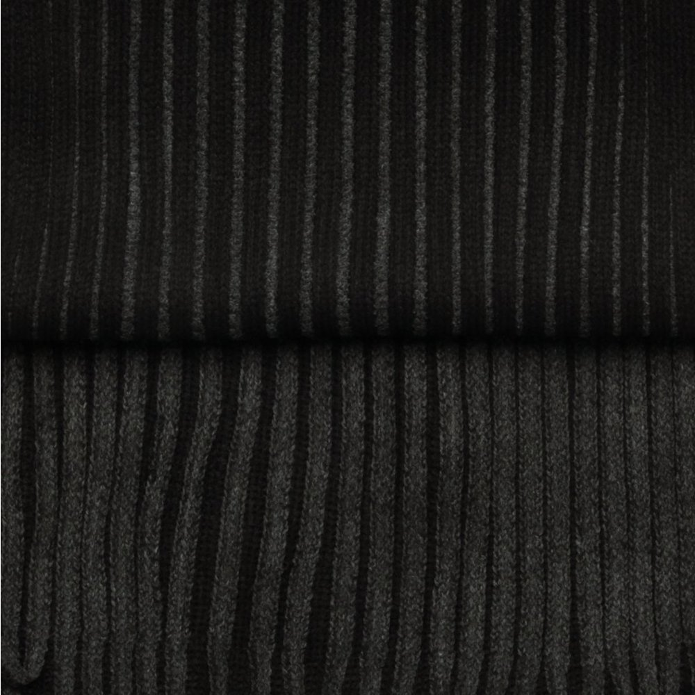 Men's scarf in black-graphite color with strips 9966