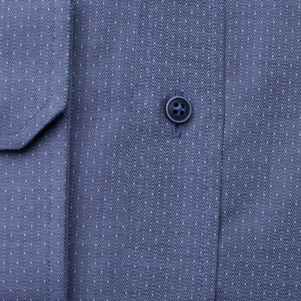 Men's slim fit shirt in blue color with herringbone pattern (height 176-182 I 188-194) 9999
