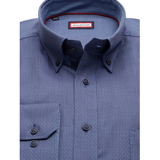 Classic shirt in blue color with herringbone pattern  (height 176-182 and 188-194) 10000, Willsoor