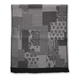 Men's woolen scarf with a fine geometric pattern 10013, Willsoor