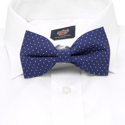 Men's dark blue pre-tied bow tie with dots 10058, Willsoor