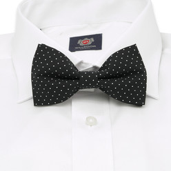 Men's black pre-tied bow tie with white dots. 10060, Willsoor