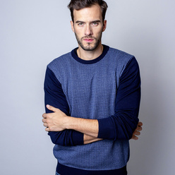 Men's pullover with fine pattern 10149
