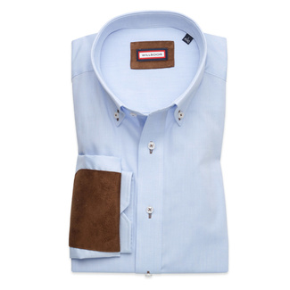 Slim Fit shirt with brown elements on elbows (all sizes)10242, Willsoor