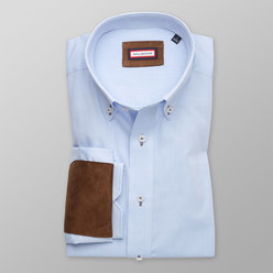 Classic shirt with brown elements on elbows (all sizes) 10243, Willsoor