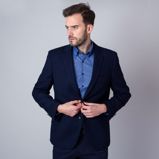 Men's suit jacket in dark blue (all sizes) Willsoor 10245