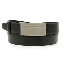 Black belt made of natural leather 10260, Willsoor