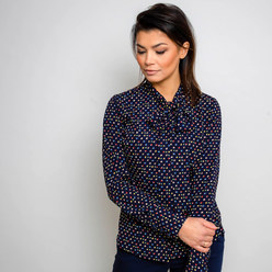 Women's shirt in dark blue with a bow 10264