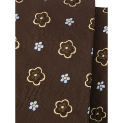 Silk tie in brown with a floral pattern 10330, Willsoor