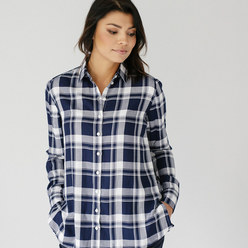 Women's shirt with dark blue checked pattern 10379