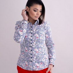 Women's shirt with stripes and floral pattern 10381