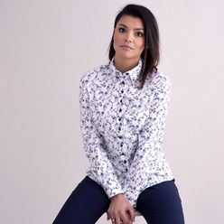 Women's shirt in white with floral pattern 10384