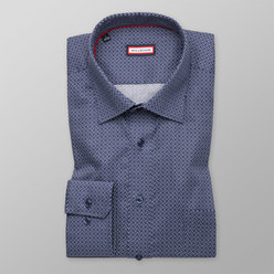 Slim Fit shirt with blue-white geometric pattern (height 176-182) 10434