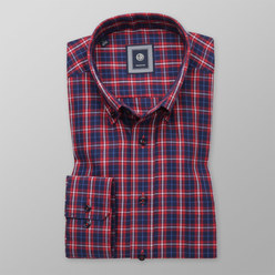Slim Fit shirt with red check (height 176-182) 10442, Willsoor
