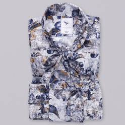 Women's shirt with floral pattern and tied collar 10471