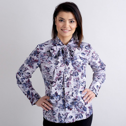 Women's shirt with floral pattern and tied collar 10472
