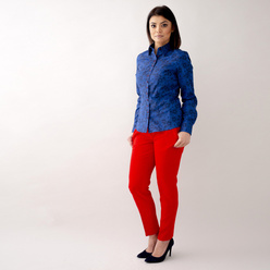 Women's shirt in dark blue with floral pattern 10474