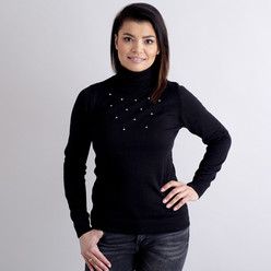 Women's turtleneck pullover in black with decoration 10517