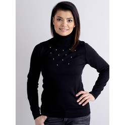 Women's turtleneck pullover in black with decoration 10517, Willsoor
