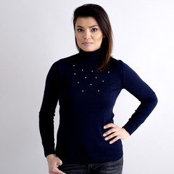 Women's turtleneck pullover in dark blue with decoration 10518, Willsoor