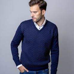 Men's jumper with white dot pattern 10531