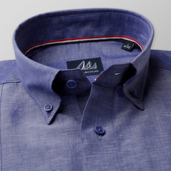 Classic shirt in blue with linen addition (height 198-204) 10568, Willsoor