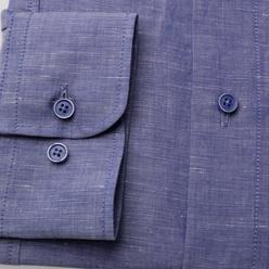 Classic shirt in blue with linen addition (height 176-182) 10570, Willsoor