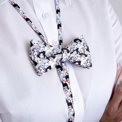 Women's bow tie with female faces print 10592, Willsoor