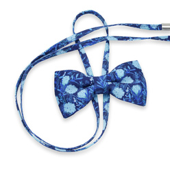 Women's bow tie with blue floral pattern 10596, Willsoor