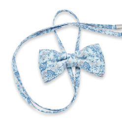 Women's bow tie with blue floral pattern 10601, Willsoor