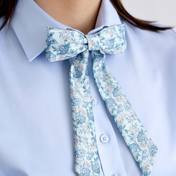 Women's bow tie with blue floral pattern 10605, Willsoor