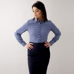 Women's shirt with blue-white check pattern 10623, Willsoor