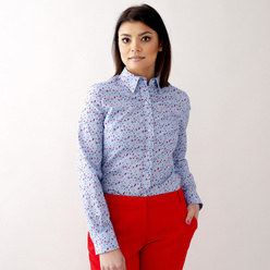 Women's shirt in light blue with floral pattern 10624, Willsoor