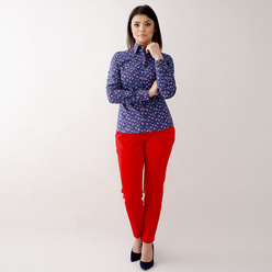 Women's shirt in dark blue with floral pattern 10625, Willsoor