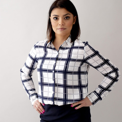 Women's oversize shirt with check pattern 10629, Willsoor