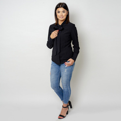 Women's shirt in black with tied collar 10630, Willsoor
