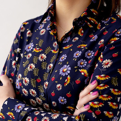 Women's shirt with colorful floral pattern 10631, Willsoor