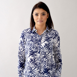 Women's shirt with dark blue leaves print 10632, Willsoor
