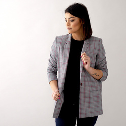 Women's oversize suit jacket check pattern 10633