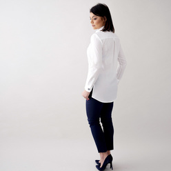 Women's shirt in white with large colorful buttons 10682, Willsoor