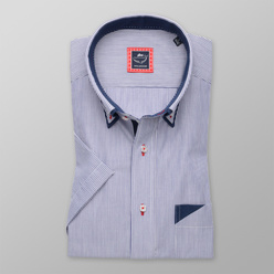 Slim Fit shirt with blue-white striped pattern (height 176-182) 10731
