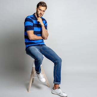 Men's polo t-shirt with stripes 10742, Willsoor