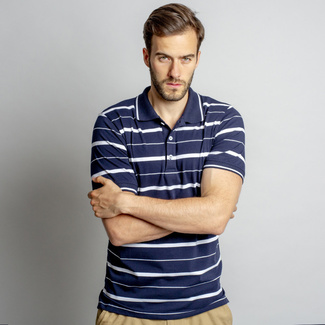 Men's polo t-shirt with white strips 10743