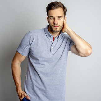 Men's polo t-shirt in grey color (size up to 5XL) 10747, Willsoor