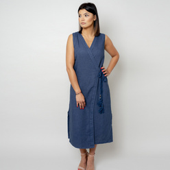Long dress in dark blue color 10785, Willsoor