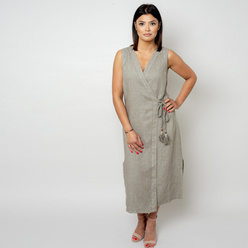 Long dress in khaki color 10786, Willsoor